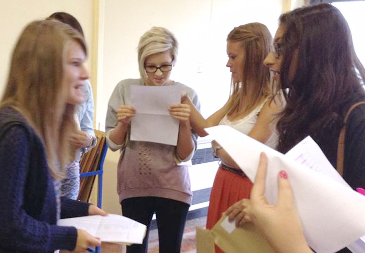 Students at Bishop Milner school collecting their GCSE results