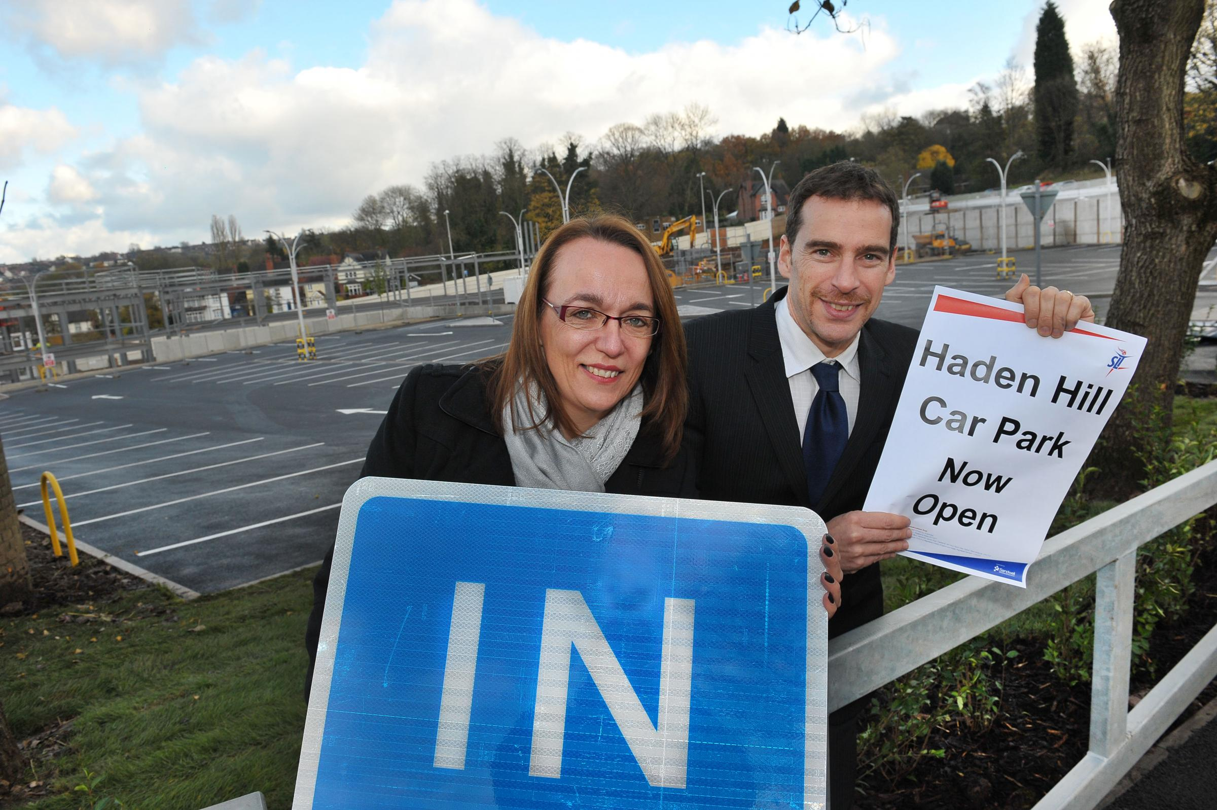 Parking paradise: SLT's chairperson, Lois Taylor, and Haden Hill Leisure Centre manager, Stu