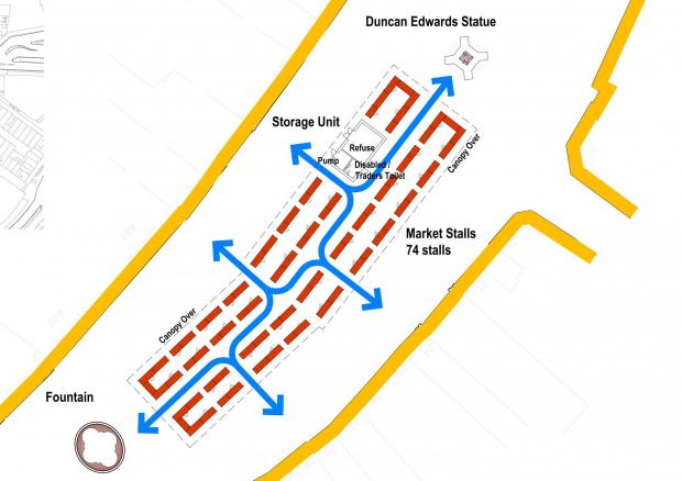 A plan of the layout of the new market area in Dudley