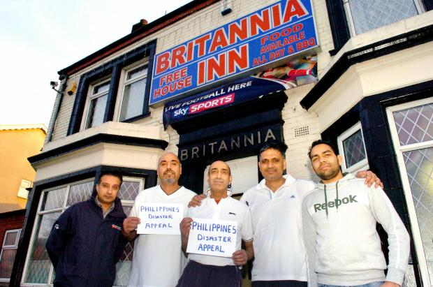 Harvey Singh, Reshpal Singh, Angrej Singh, Sukhdev Singh (landlord of Britannia Pub) and Rohit Matta (bar manager of Britannia Inn)