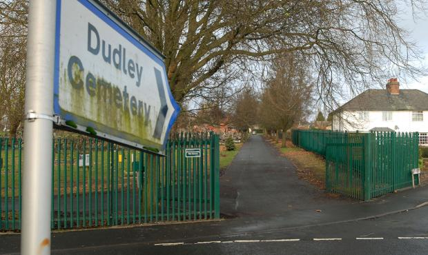 The gates at Dudley Cemetery's Clee Road entrance which were locked on Christmas morning - leaving visiting relatives out in the cold