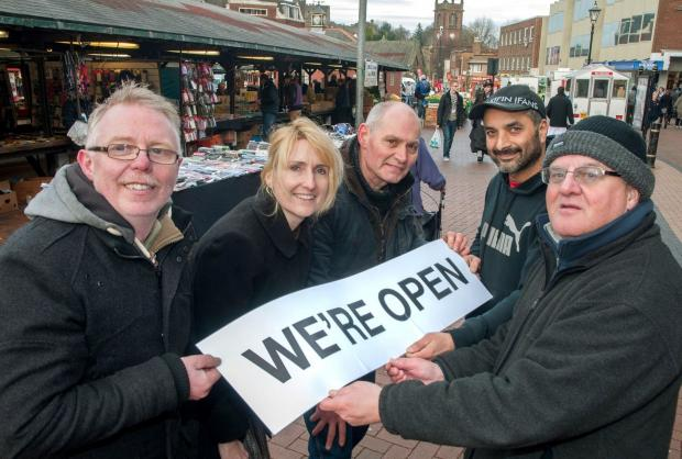 Market Place traders say we are open for business during town centre revamp. l-r Len Leniham, Cllr Judy Foster, Alan Bennett, Sam Johal and Paul Shorters