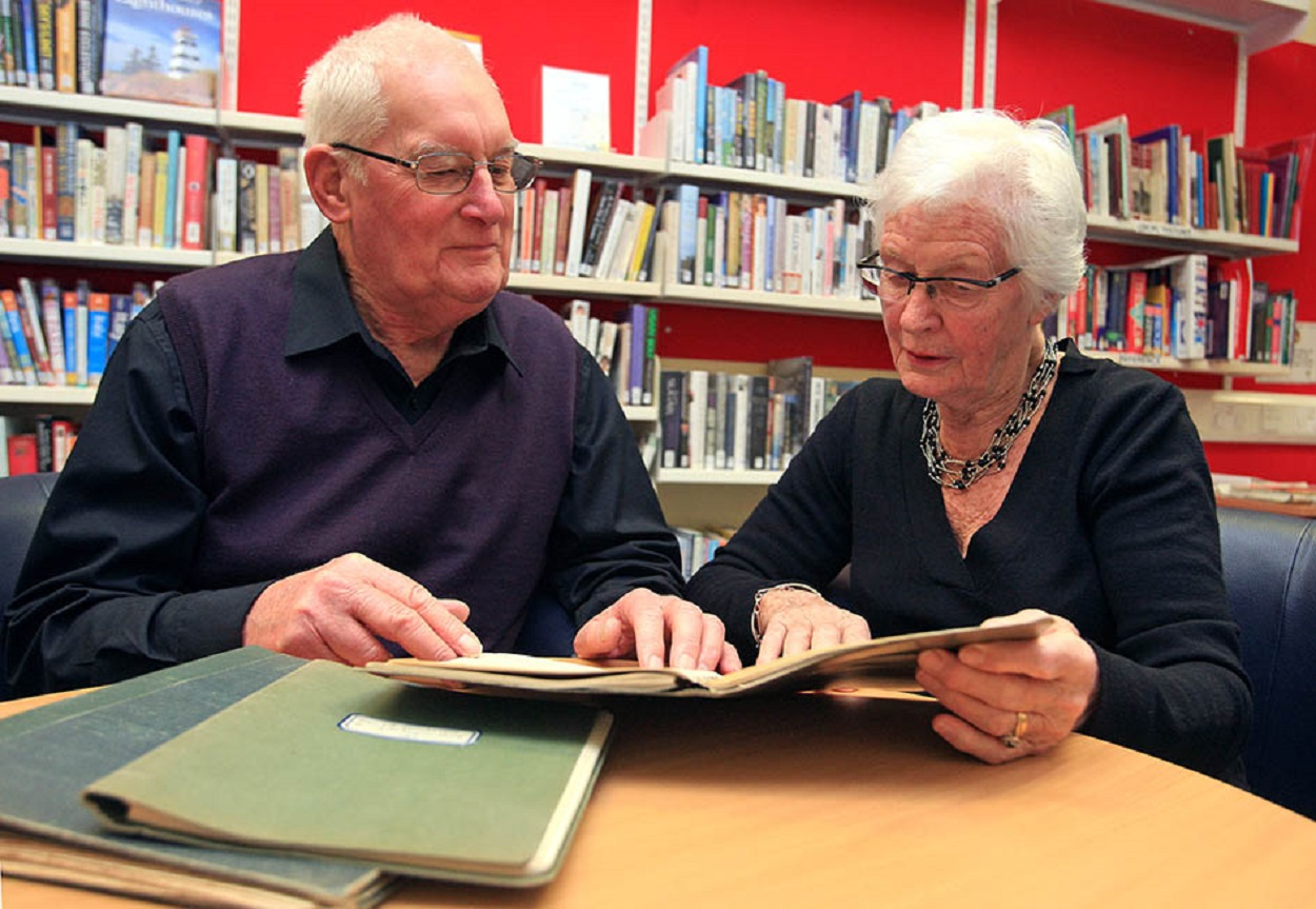 Historian Mike Dewey and Jill Hackett with the Clarkson Rose diaries that look set to return to Dudley