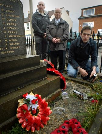 Cllrs Adam Aston, Ken Finch and Keiran Casey at the memorial which they hope will be moved to new home 071420L