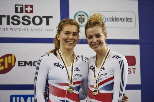 Jessica Varnish (left) and Becky James with their bronze medals.