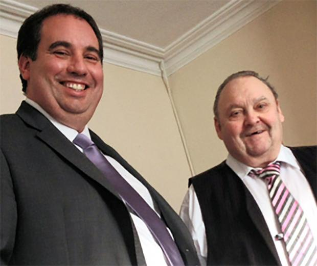 On the same team - former football manager Steve Daniels (right) and UKIP's Bill Etheridge celebrate the euro-sceptic party's latest signing