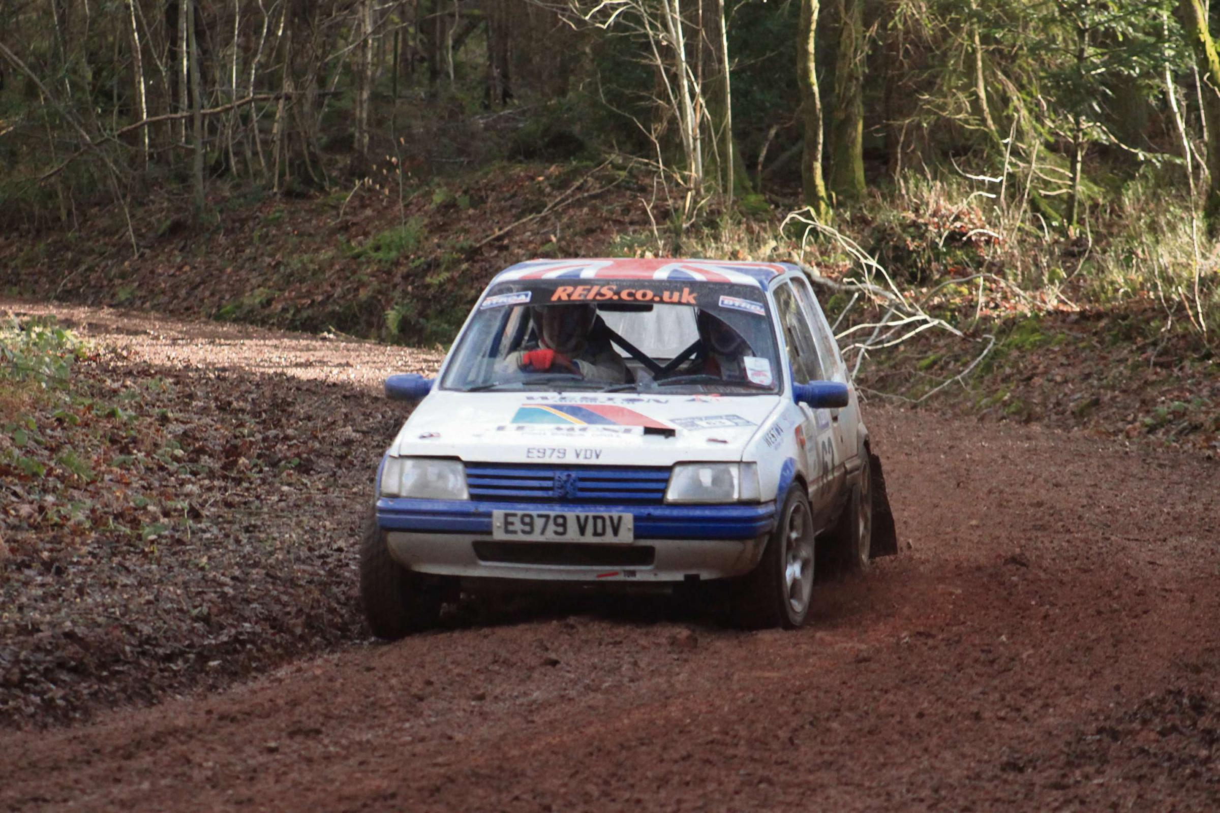 Steve Deeley and Alan Proudman in action on the Wyedean Rally.