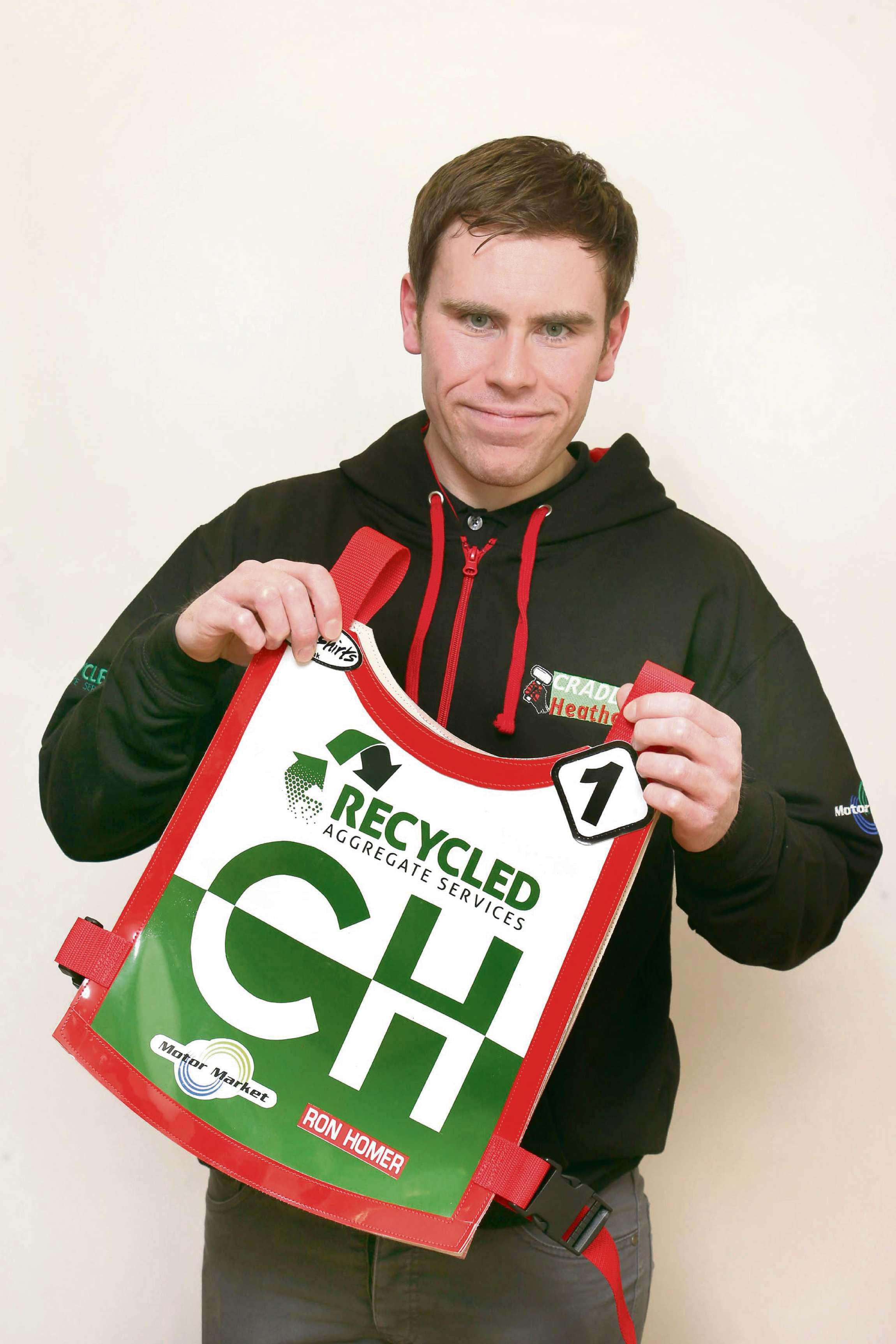 Cradley manager Will Pottinger with the new retro race jacket. Pic: John Hipkiss.