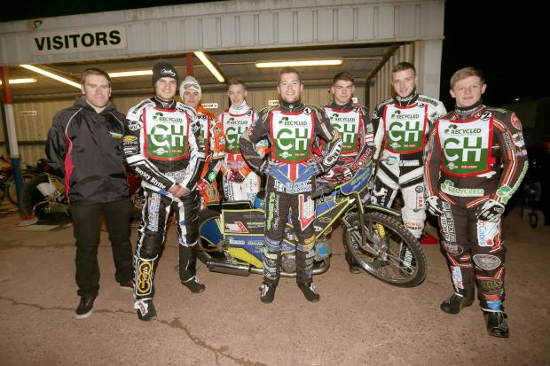 Cradley Heathens are ready for a new season. Will Pottinger, manager, will riders Steve Worrall, Matt Williamson, Max Clegg, Paul Starke, Danny Phillips, Tom Perry and Nathan Greaves. Pic: John Hipkiss.