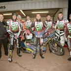 Dudley News: Cradley Heathens are ready for a new season. Will Pottinger, manager, will riders Steve Worrall, Matt Williamson, Max Clegg, Paul Starke, Danny Phillips, Tom Perry and Nathan Greaves. Pic: John Hipkiss.