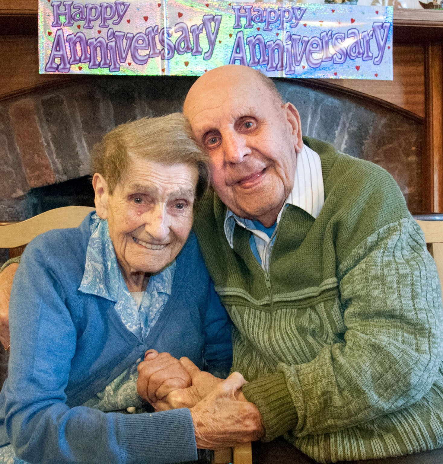 Nancy and Horace Rees celebrate their 72nd wedding anniversary. Buy this photo: 131406MH.