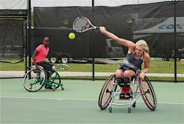 Jordanne Whiley (right) in action with Kgothatso Montjane. Picture: William Greiner.