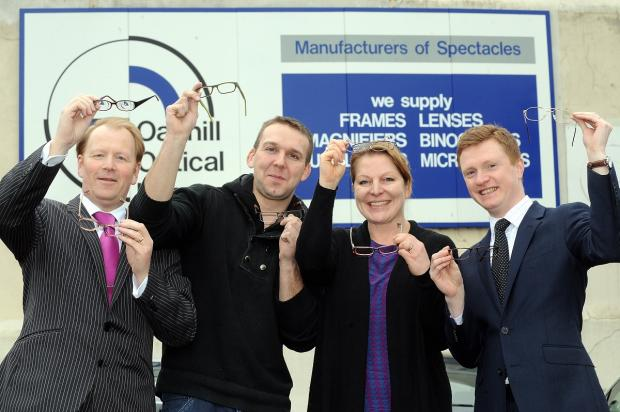 Dudley News: CLEARER FUTURE: From left, Steve Grice,Dan Boughton, Oakhill Optical, Isobel Harding and Philip Chapman.