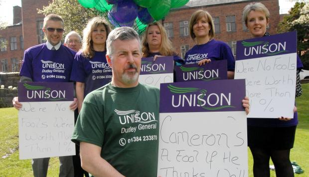 Unison staff protest in Dudley, Andrew Maybury (frront) with l-r John Everson, Joe Parkes, Sandra Harrold, Tracy Morgan, Rebecca Pearce and  Cathy Bayton 141423M