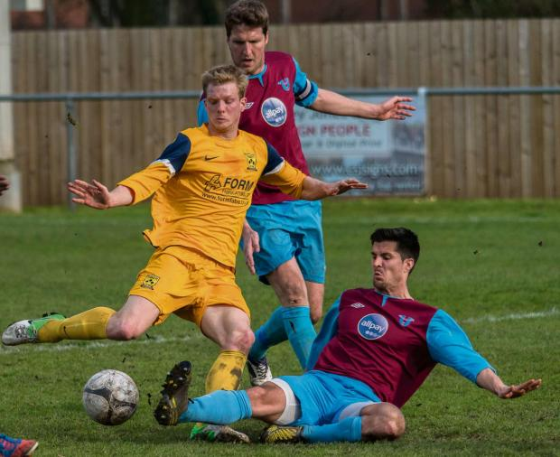 Tividale midfielder Kyle Hill is thwarted by the Westfields defence. Photo supplied by Tividale FC.