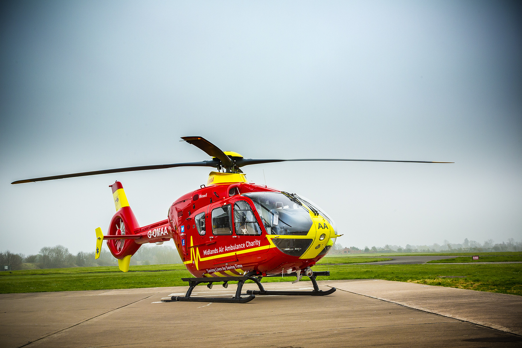 The new G-OMAA EC135T2e Midlands Air Ambulance helicopter