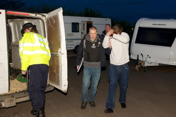 Dudley News: The scene of the early morning raid at the Oak Lane travellers' site, Kingswinford.