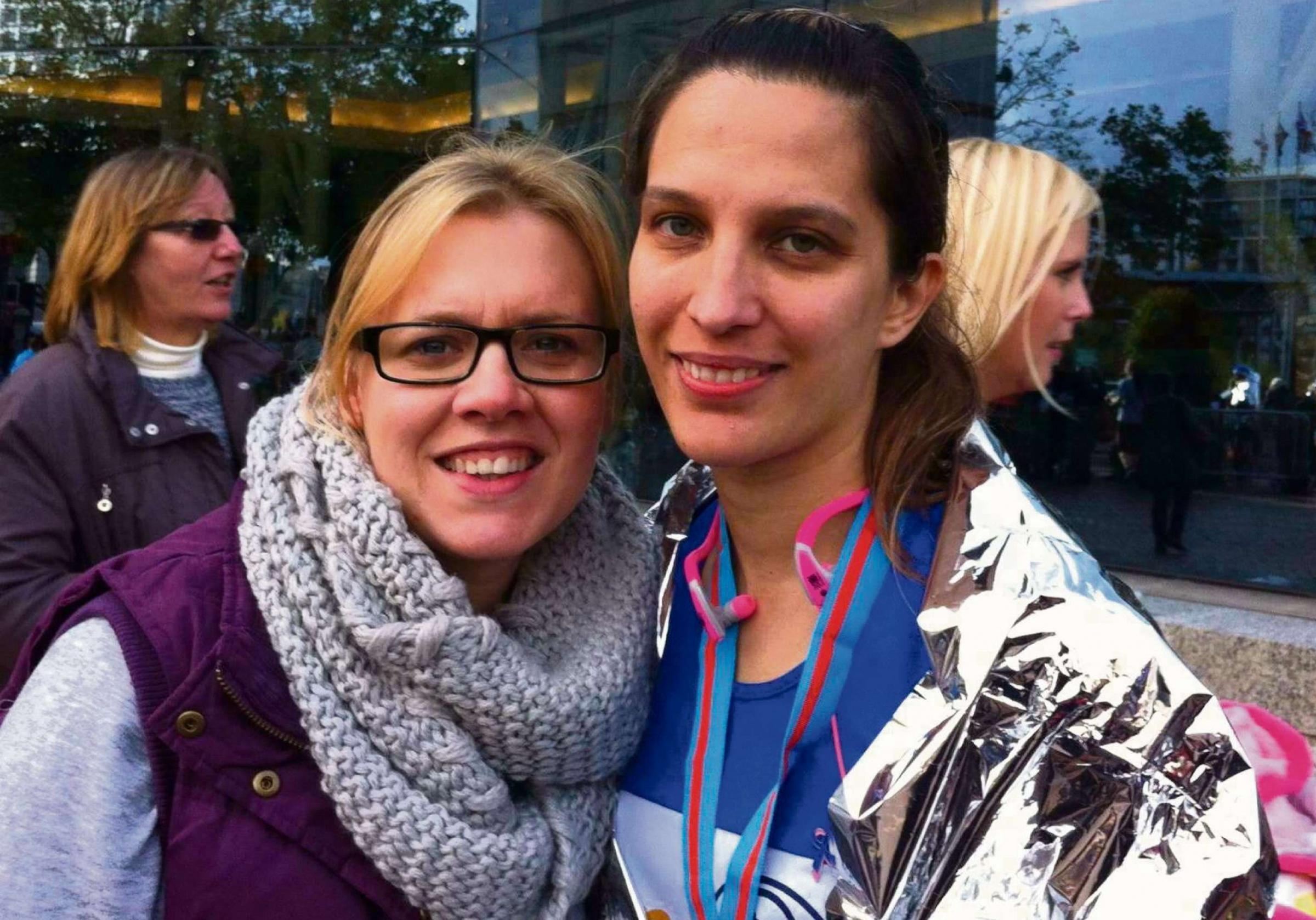 Lisa Edwards, right, with best friend Nina Gayden at the end of BUPA Great Birmingham Run 2013.