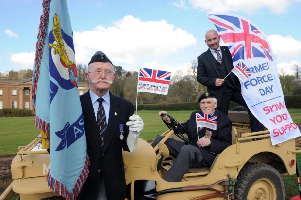 Left to right - veterans John Deane and Gordon Willetts with Paul Lewis, regional di