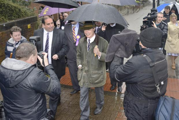 Nigel Farage during today's visit to Dudley