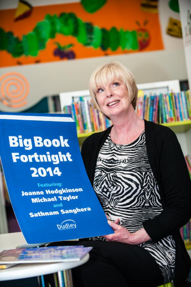 Dudley News: Jill Wood from Dudley Library getting ready for this year's Big Book Fortnight celebrations