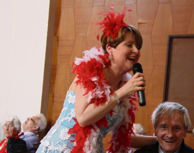 Singer Maggie O'Hara in action at Dudley's St George's Day party