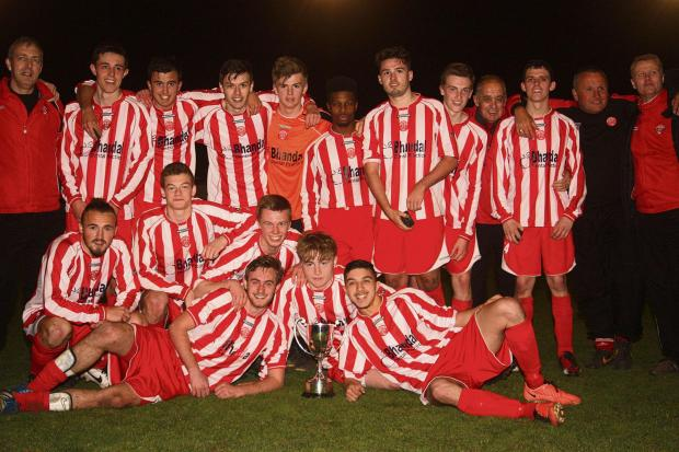 Stourbridge FC's youth team celebrate cup success. Photo: Andrew Roper.
