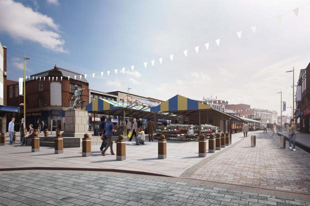A new artist's impression of how the market place area in Dudley will look