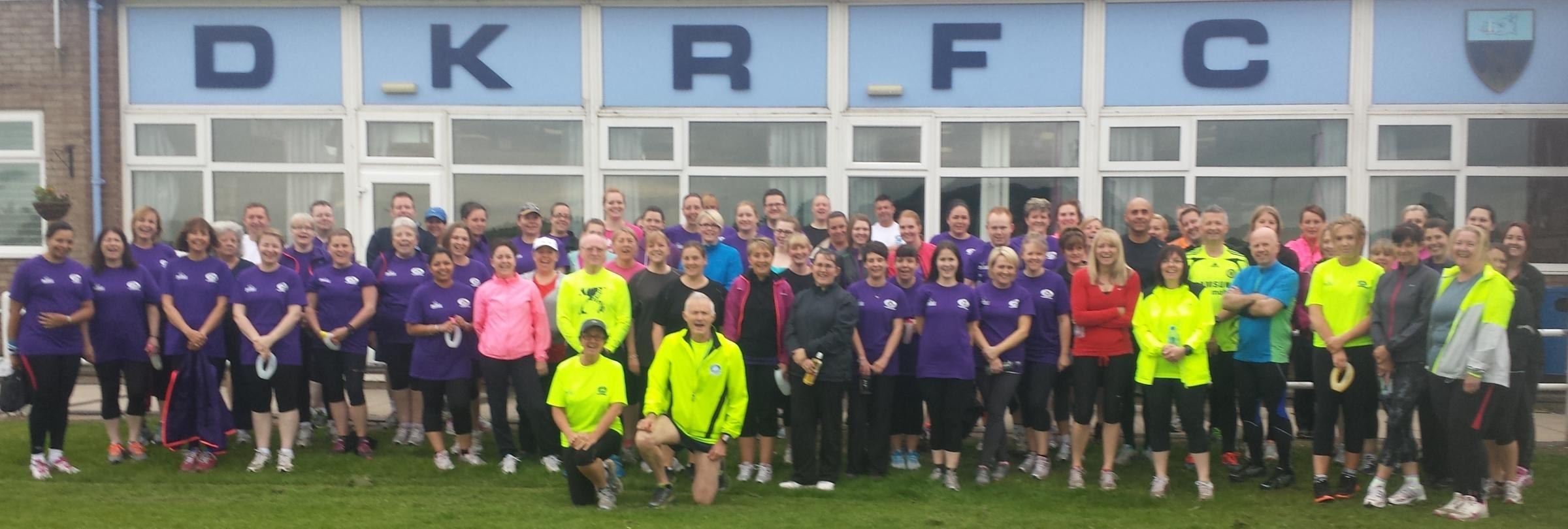 Running club members, centre, John Glover, Ingrid Cain and Jim Bibb with beginners from the 2014