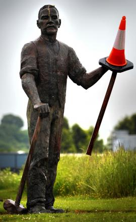 The landmark statue in Dudley is missing the end of his shovel after being damaged in a car smash