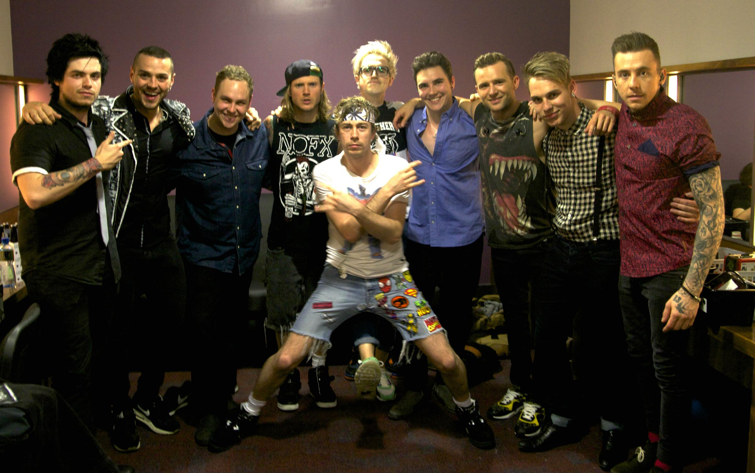 E of E with McBusted l-r Luke Bradley, Matt Willis, Nicky Waters, Dougie Poynter, James Bourne, Tom Fletcher, Harry Judd, Dan Bremner, Tom Harris and Danny Jones.