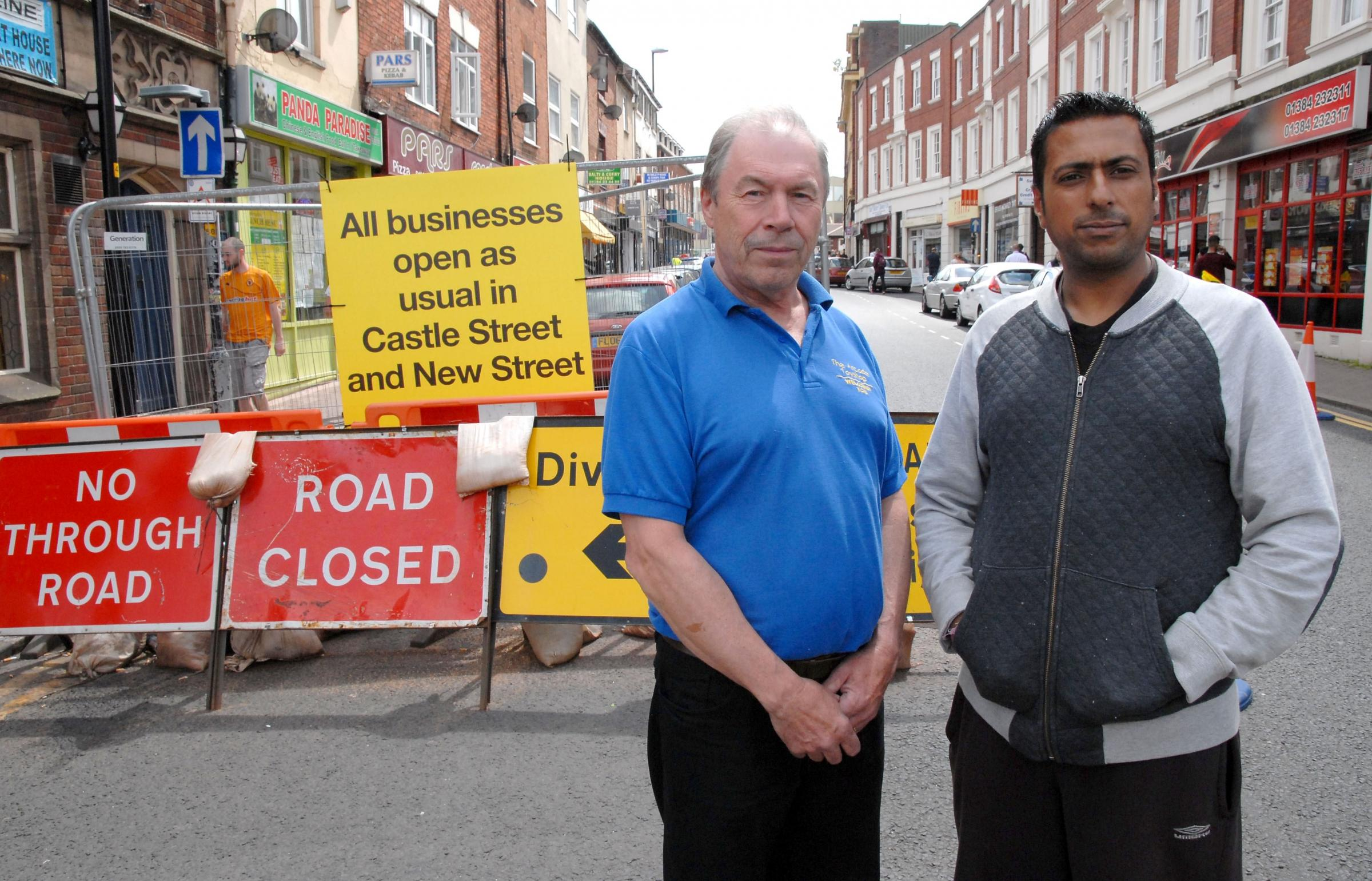 Dudley traders Alan Caswell and Naginder Singh say town centre revamp work in killing trade