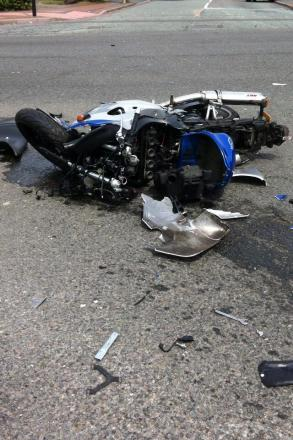 The bike involved in the crash this afternoon. Picture courtesy of @OFFICIALWMAS.