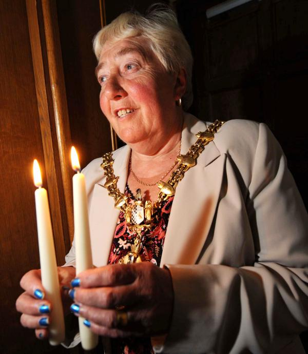 Dudley Mayor - Cllr Margaret Aston - ready for the WW1 event on Monday August 4 when there will be a candlelit service at the Clock Tower in Priory Street, Dudley. Buy photo: 311408ET