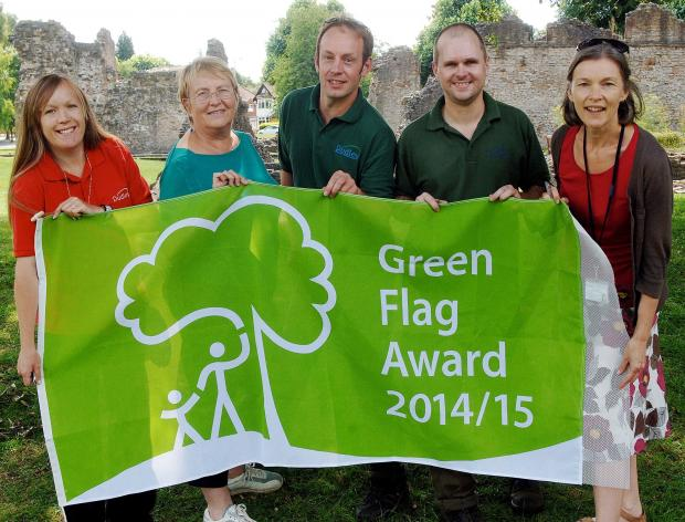 Senior park ranger Lydia Allt, Dudley  environment cabinet member Cllr Hillary Bills, senior warden Ian Beech, horticultural tradesperson Paul Parkes and Dudley green space team leader Liz Stuffins celebrate Dudley's Green Flag Awards. 311421LA