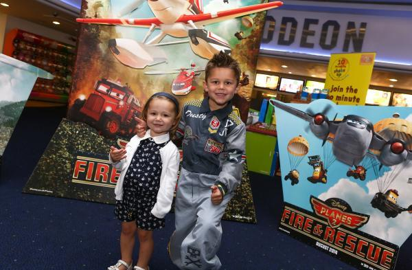 Lily-Rose Smith, aged two and five-year-old Jack Smith from  Kidderminster at the premiere.