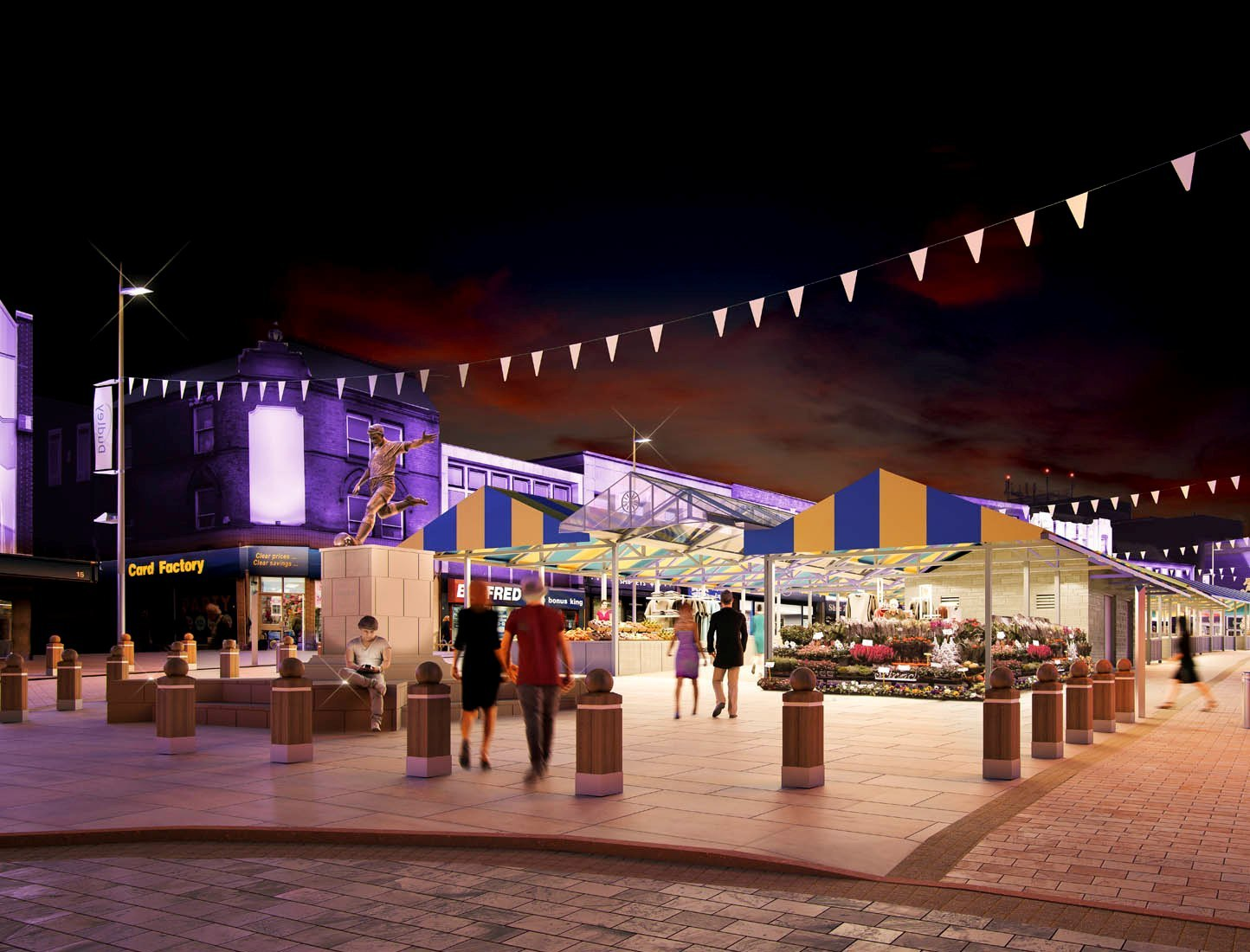 An artist's impression of how the new Dudley market place will look at night
