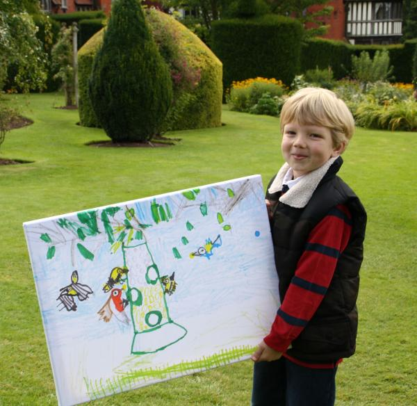 Oliver with his winning drawing.