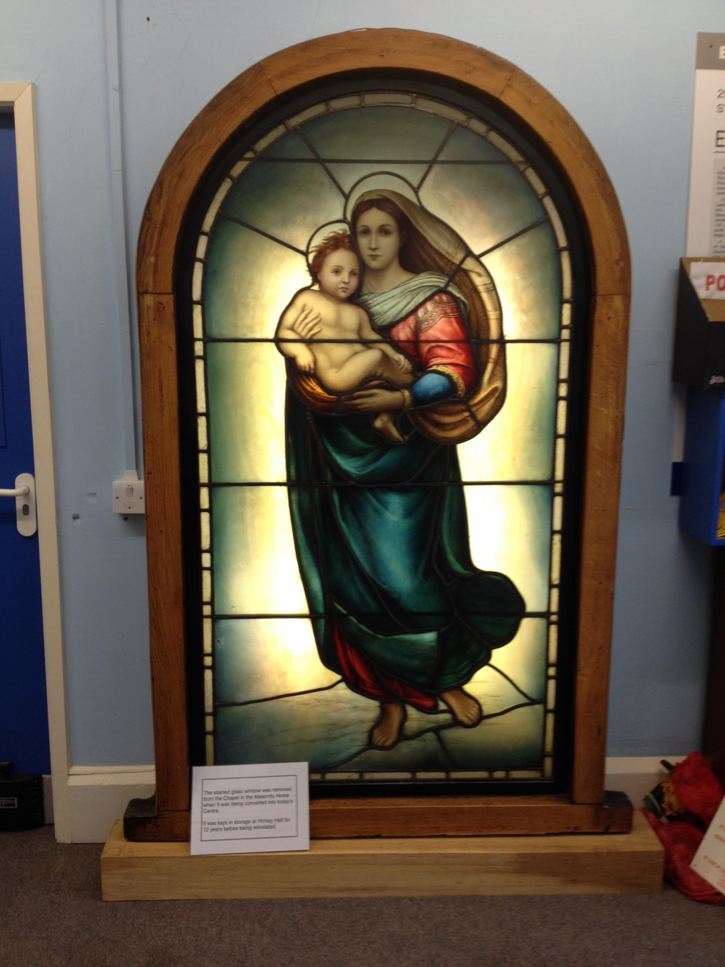 The stained glass window from the maternity home's chapel is now located at Pocklington Trust Resource Centre.