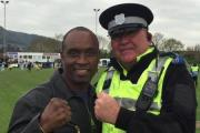 POSING: The Dark Destroyer poses with PCSO Steve Freeman.Picture supplied by Malvern Cops