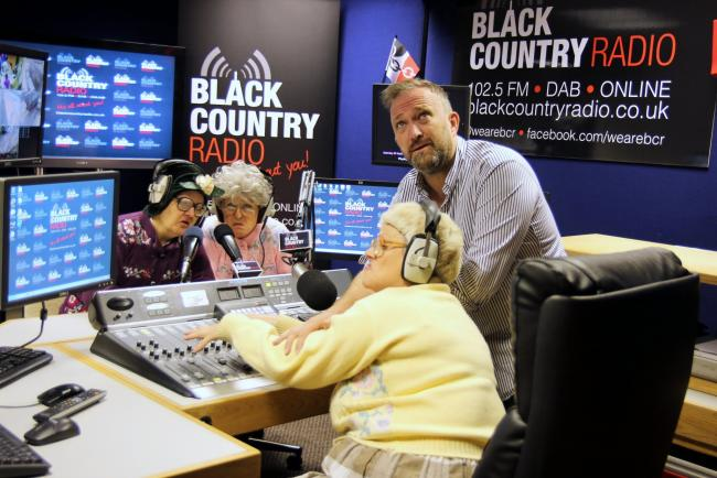 L-r - Fizzogs comedy stars Jacky Fellows, Deb Nicholls and Sue Hawkins with Black Country Radio's head of programming Paul Smith