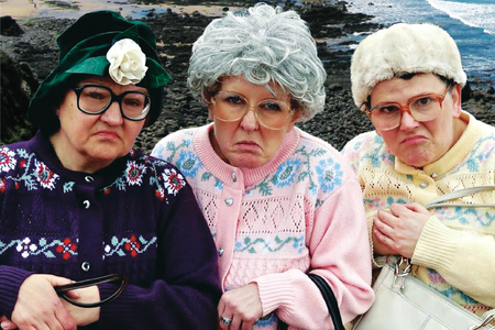 The Fizzogs as the 'dancing grannies'