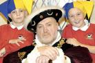 Above: Ray Irving as Henry VIII and Bailey Blackford (aged nine) and Josh Whiles (aged eight)