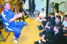 Darren Maddy hosts a question and answer session with High Arcal pupils