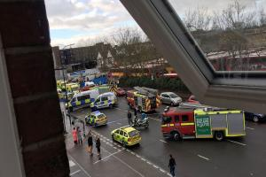 Five in hospital after car collides with pedestrians in London