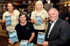 (Back L-R) CAMRA's Karen Williams and Amanda Hignett with (front L-R) Weavers Real Ale House licensee Dean Cartwright and former national director for CAMRA Brett Laniosh. Pic: Colin Hill