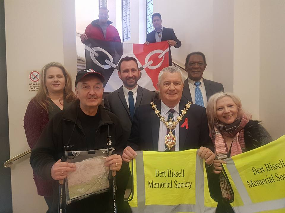 Front l-r Cllr Steve Waltho, Cllr Tyler and  Rose Monk-Cook. Middle row l-r  Lynette Corfield, Jason Whyley and Astley Blake. Back row l-r Damian Corfield and Shaz Saleem
