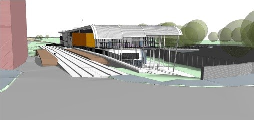 An artist's impression of the Station Road approach to the building