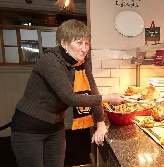 Doreen enjoys the first roast at the brand new Toby Carvery Burnt Tree Island