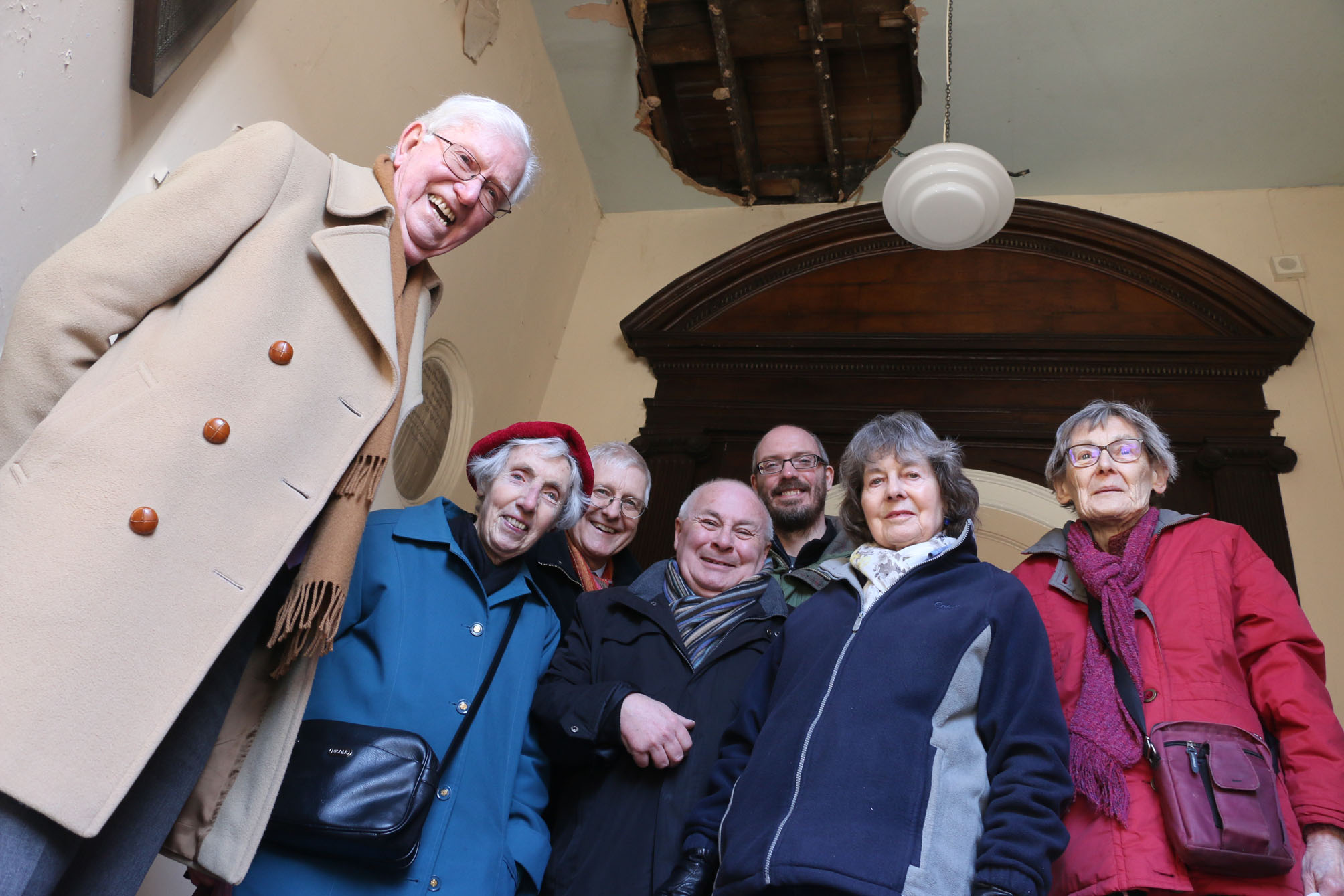 Graham Foulkes, Anne Mullaney, Andrew Mottram, Jon Harcourt, Mark Wisbey, Mary McGraghan and Hilary Atkins are delighted that the church will be restored to its former glory